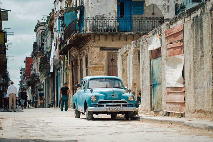 car parked on Cuban street